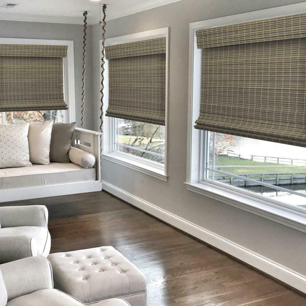 Cordless Privacy Weave Bamboo Roman Shades