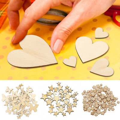 100Pcs 10-40mm Wooden MDF Hearts Flowers Stars Butterfly Shape Craft Decor NEW - Wooden Hearts Crafts