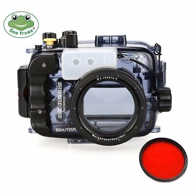 Seafrogs 195ft Underwater Camera Housing for Sony A6000 A6300 A6500 w/Red Filter