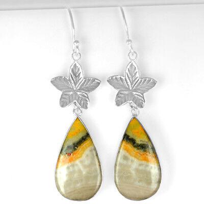 9.13 Grams 925 Sterling Silver Drop Leaf Bumble Bee Pair Girl Earrings Jewelry $