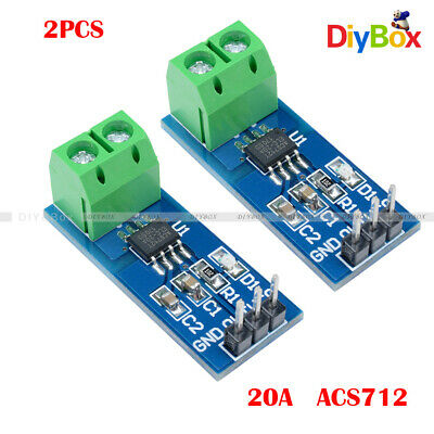 2pcs 20a Range Current Sensor Module Acs712 Fit For Arduino Raspberry Pi Uno