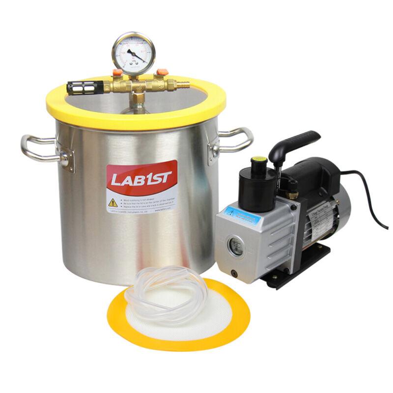 3 Gallon Stainless Steel Vacuum Degassing Chamber Kit, 3CFM Vacuum Pump, US Only