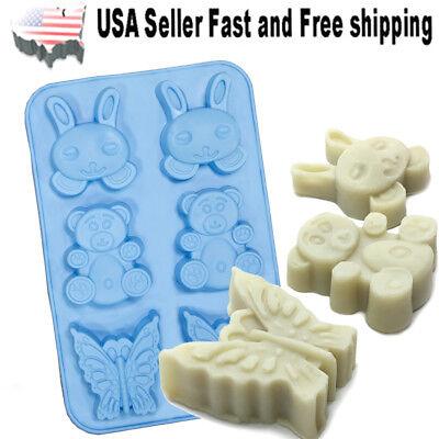6 Cavity Butterfly Rabbit Bear Shaped Silicone DIY Handmade Soap Mold ~US Seller
