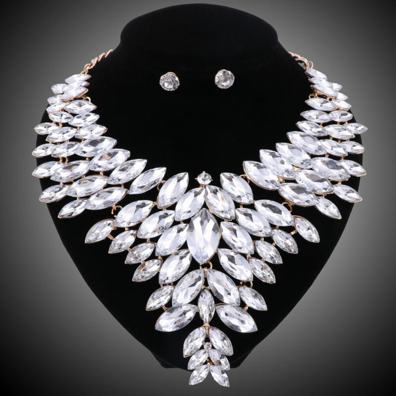 Women Gold Plated Crystal Jewelry Sets For Brides Necklace Earring Wedding Party