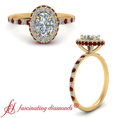 Under Halo Engagement Ring With 1.25 Carat Oval Shaped Diamond And Ruby Gemstone