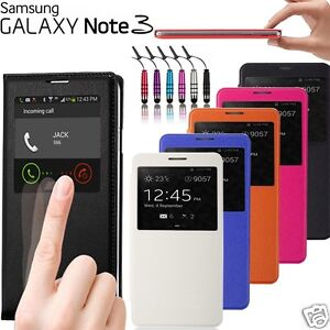 itm ETUI COQUE HOUSSE FLIP COVER S VIEW SAMSUNG GALAXY NOTE  FILM STYLET OFFERT