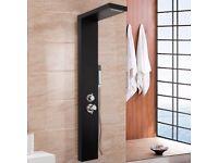Modern Black Column Mixer Shower Panel