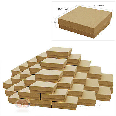 """50 Kraft Cotton Filled Jewelry Gift Boxes Retail Store Use 3 1/2"""" x 3 1/2"""" x 1"""""""