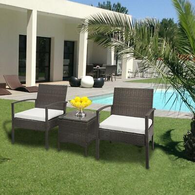 Garden Furniture - 3PCS Rattan Patio Furniture Sofa Set Garden Lawn Chairs Cushioned Seat + Table