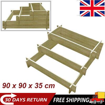 3-Tier Wooden Raised Garden Bed Vegetable Flower Planter Box Display Patio New