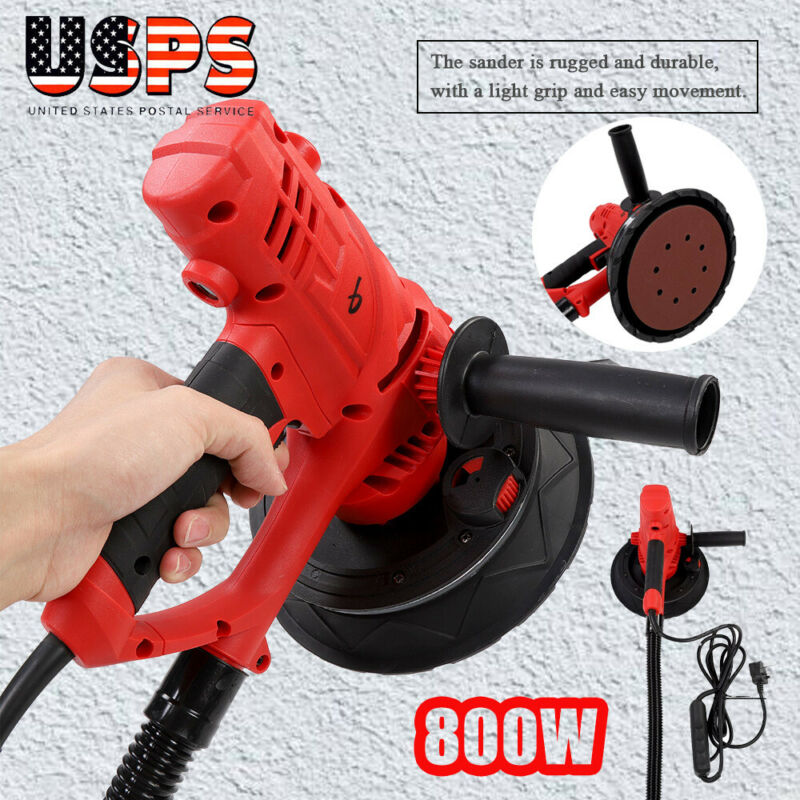 Electric HandHeld Drywall Sander 1580W Variable Speed with Vacuum & LED Light US