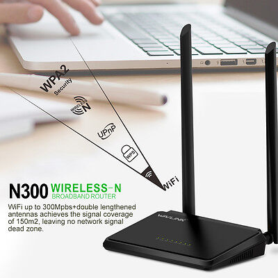 Wavlink N300 Wireless Router,Designed 4 LAN Port &WPS for Home Networking Black