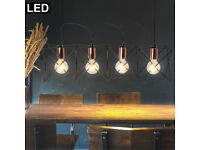 LED Chrom Pendel Strahler Kugel Decken Lampe Gäste Zimmer Filament Retro Leuchte