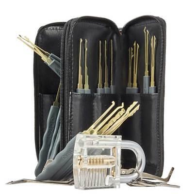 24pcs Lock Practice Kit Traing Tools Cutaway Transparent Key Pick Kit With Bag