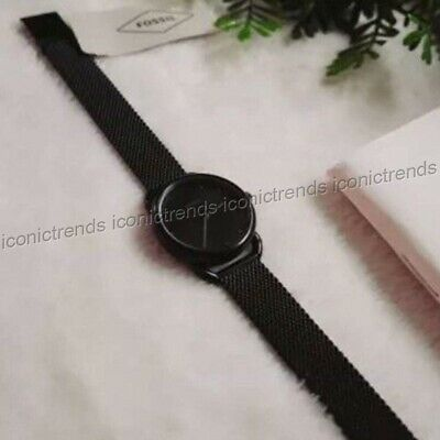 NWT 🌹 Fossil ES4489 Tailor Black Stainless Steel Mesh Bracelet Mini 26mm Watch Black Mesh Bracelet Watch