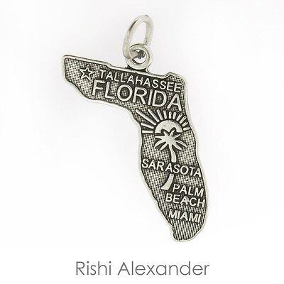 925 Sterling Silver State of Florida Charm Made in USA