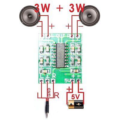 2PCS Efficient USB Class D Digital Module Amplifier Board PAM8403 2.5-5V