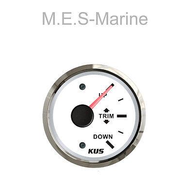 Quality Marine Waterproof Trim Gauge Inboard Outboard 12/24V Boat 52mm White