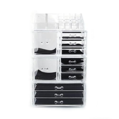 Makeup Cosmetics Jewelry Organizer Display Box Storage w/Drawers Space Saving