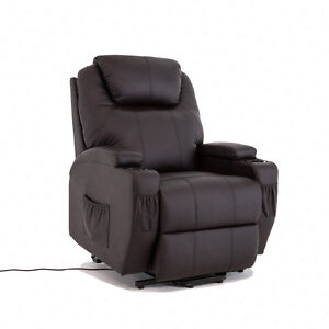 Real Leather Electric Rise and Recline Mobility Chair Lift Tilt Riser Recliner