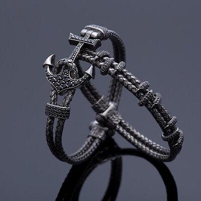 Braided Wire Bracelet - Handmade Mens Anil Arjandas Anchor Bangle Braided Wire Stainless Steel Bracelet