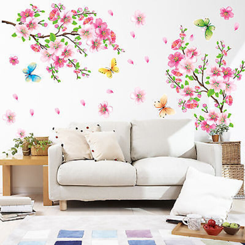 Home Decoration - Room Peach Blossom Flower Butterfly Birds Wall Stickers Art Decals Decor Mural v