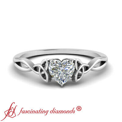 Half Carat Heart Shaped Diamond Split Shank Irish Engagement Ring In White Gold