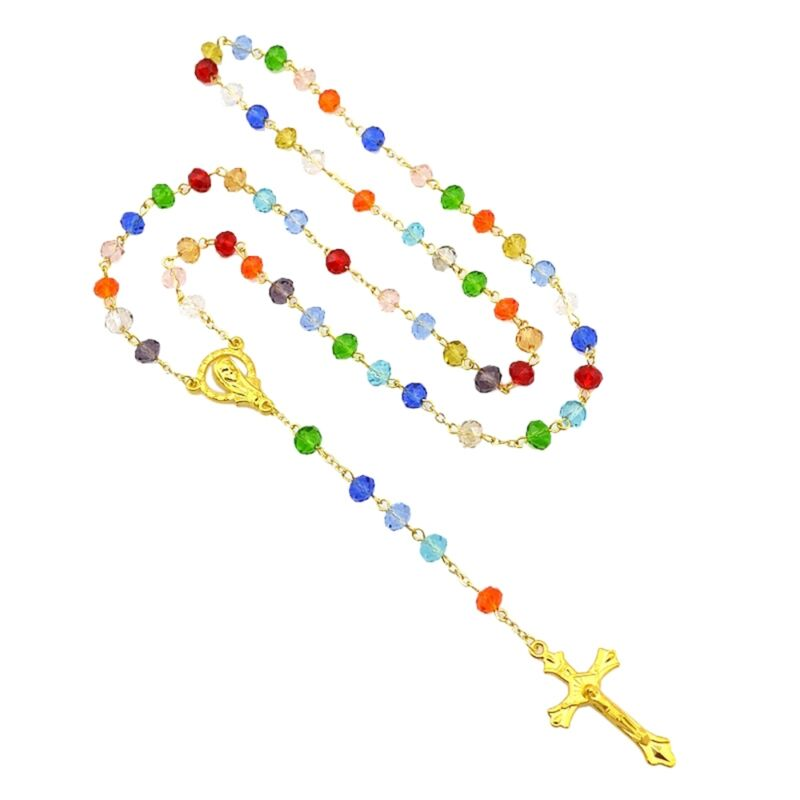 Catholic Colorful Crystal Beads Trendy Long Rosary Necklace Jewelry