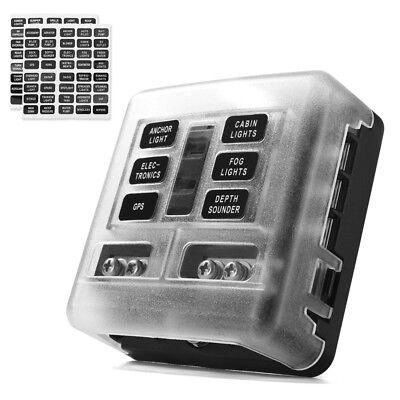 6 Way Fuse Box Block Holder 32V LED Indicator Sticker Lable for Car Boat SUV
