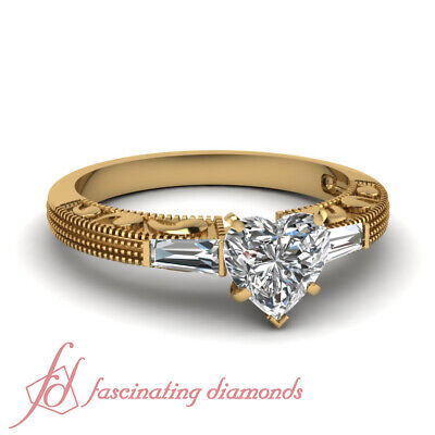 3 Stone Baguette Diamond Vintage Ring 3/4 Ct Heart Shaped In 14k Yellow Gold - Gold 3 Stone Heart Ring