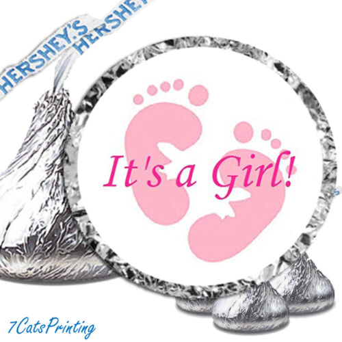 Baby Shower Decorations Pink Its A Girl Hershey Kiss Stickers Fits Kisses Labels