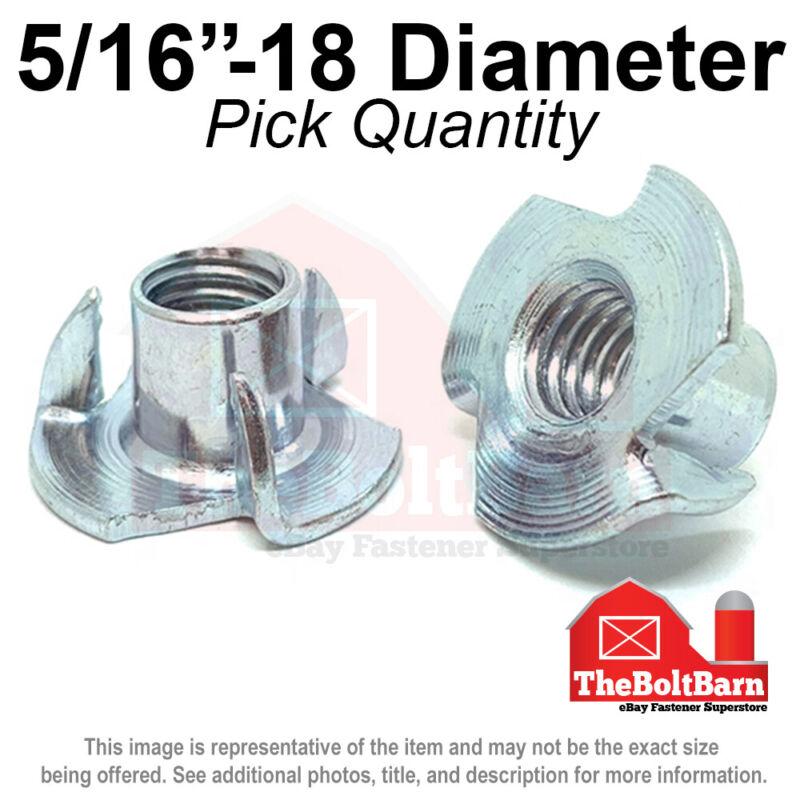"5/16""-18 Steel 3 Prong T Nuts Tee Zinc Plated Coarse Thread (Pick Quantity)"