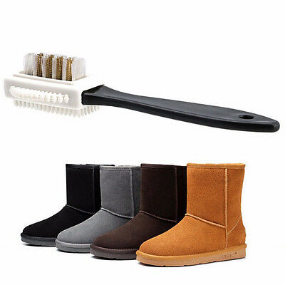 Shoes Cleaning Black Plastic Boots Nubuck Suede 3 Sides Shoes Brush S Shape