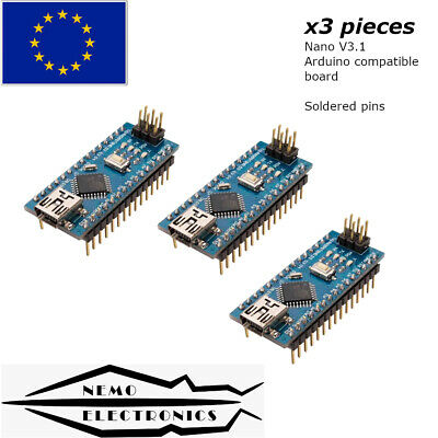 3pcs Nano Atmega 328 V3.1 Arduino Compatible Board Ch340g 5v Soldered Eu Stock