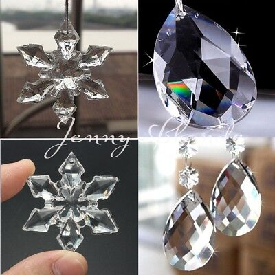 Christmas Snowflakes (10/50Pcs Clear Snowflakes Crystal Glass Beads Chandelier Ornaments Xmas)