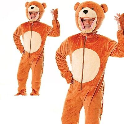 Mens Ladies Big Head Teddy Bear Mascot Fancy Dress Costume Jungle Ted Outfit ()