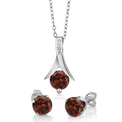 "Sterling Silver Red Garnet Earring & Pendant Set (2.25 cttw, 18"" Chain)"