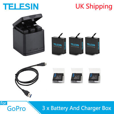 TELESIN 3 Battery + 3 Way Charger Box With Type-C Cable For GoPro Hero 5 6 7 8