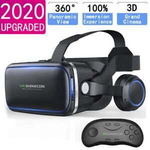 3D Virtual Reality VR Glasses Headset Box Helmet With Remote For iPhone Android