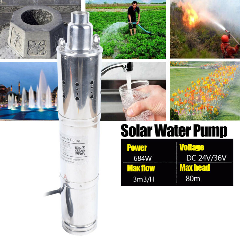 DC24V 684W Submersible Deep Well Water Pump Solar Water Pump MAX Flow 3M³/H 80M
