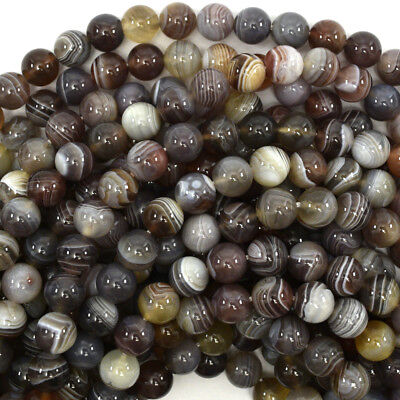 Natural Botswana Agate (Natural Botswana Agate Round Beads Gemstone 15.5
