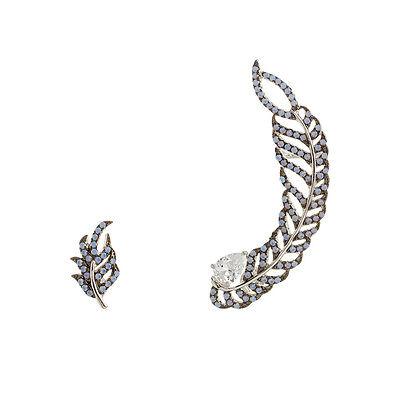 TearDrop CZ + Turquoise Opal Feather Sterling Silver Ear Pin Crawler Earrings