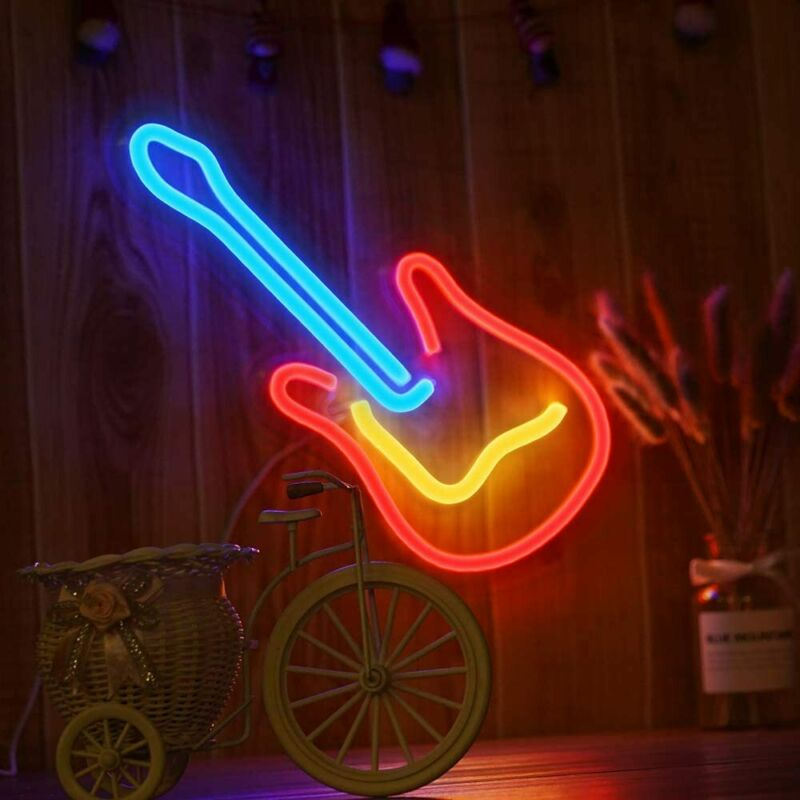 "3D Neon Guitar Light LED Light Sign 16"" Bar Hotel Wall Decor Light Art Neon Sign"
