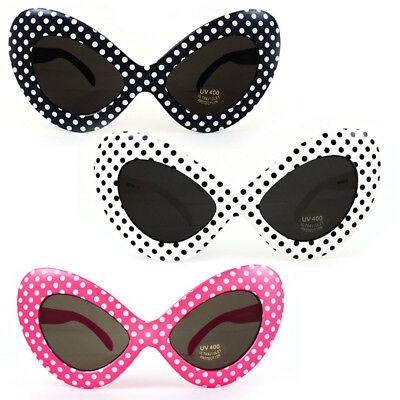 1970'S Retro Womens Fashion Oversize Polka Dot Novelty Cat Eye Sunglasses (1970 Retro Fashion)