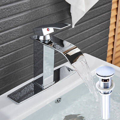 Waterfall Bathroom Vanity Sink Faucet Rectangular Spout Chrome Base Cover (Faucet Cover)
