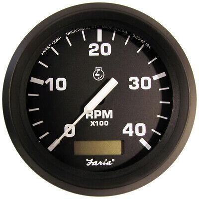 TELEFLEX ARGENT SILVER JUMBO BOAT DIESEL TACHOMETER~4000 RPM~100889~RINKER~TACH