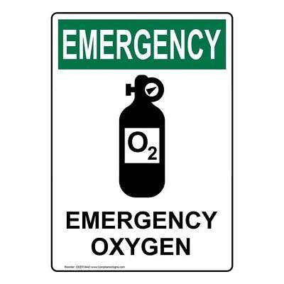 Compliancesigns Vertical Vinyl Osha Emergency Emergency Oxygen Labels 5 X...