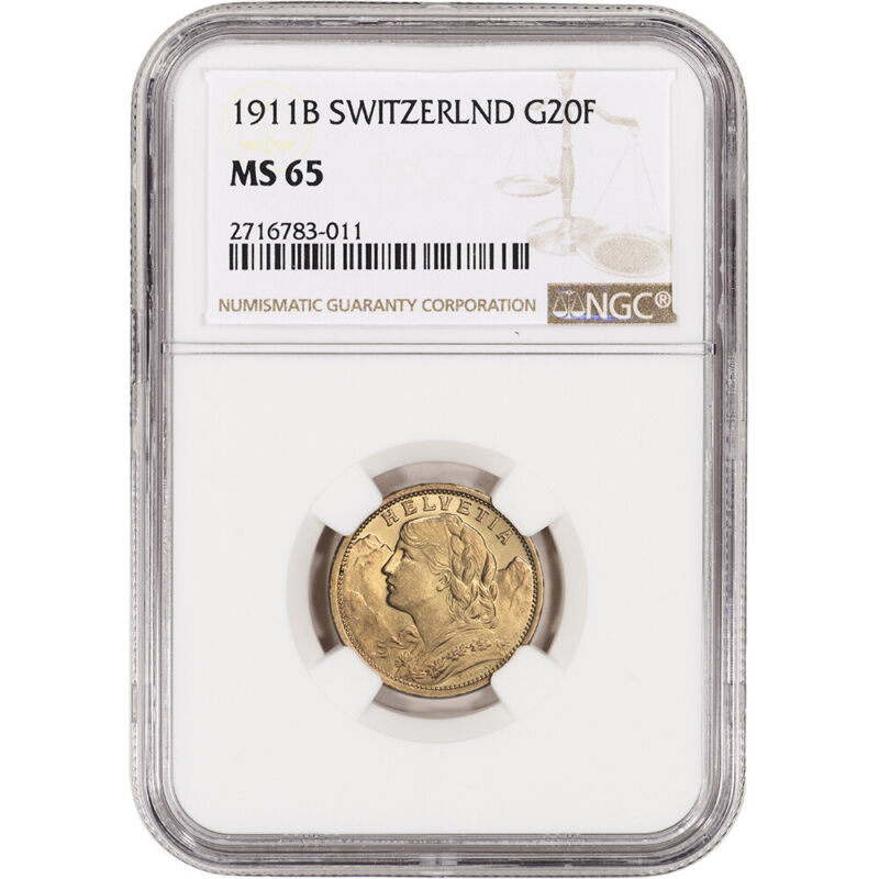 1911 B Switzerland Gold 20 Francs - NGC MS65