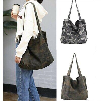Women Large Vintage Canvas Camouflage Tote Shoulder Bag Shopping Handbag Hobo