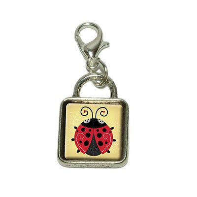 (Cute Ladybug Dangling Bracelet Pendant Square Charm)
